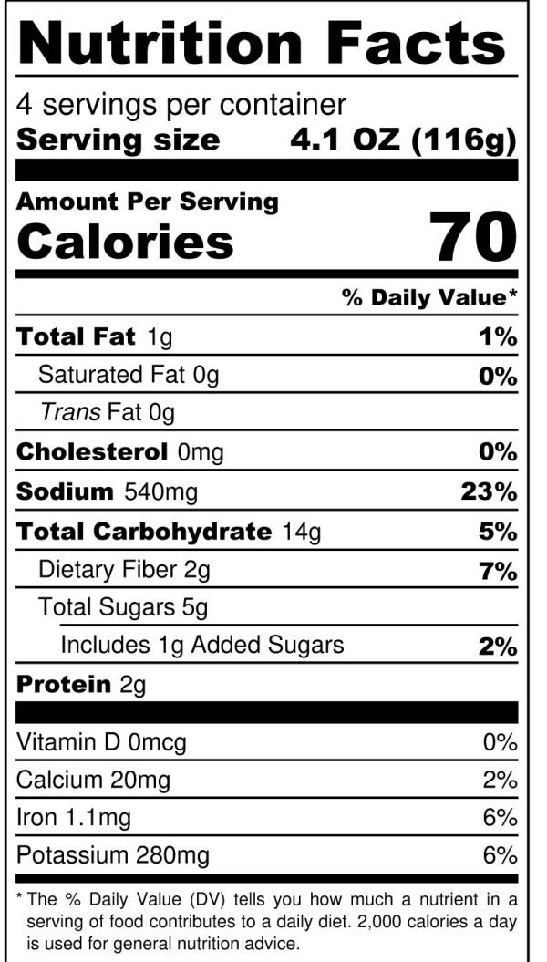 JD's Pineapple Morita Fixin's - Nutrition Label