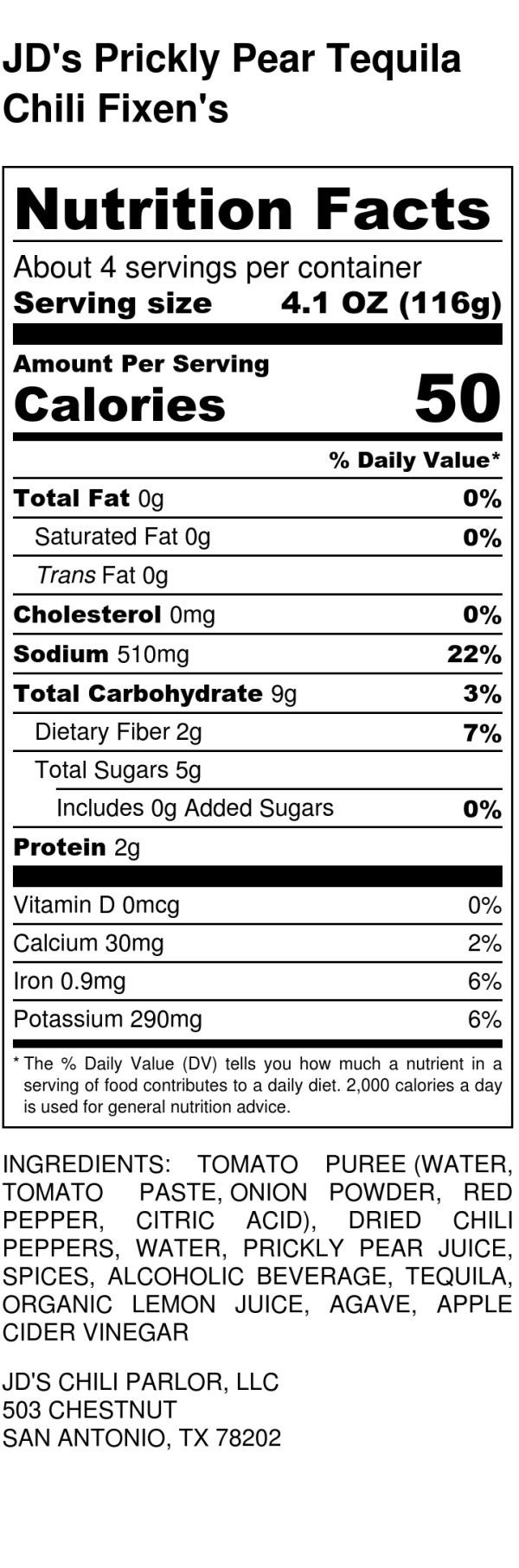 JD's Prickly Pear Tequila Chili Fixin's - Nutrition Label