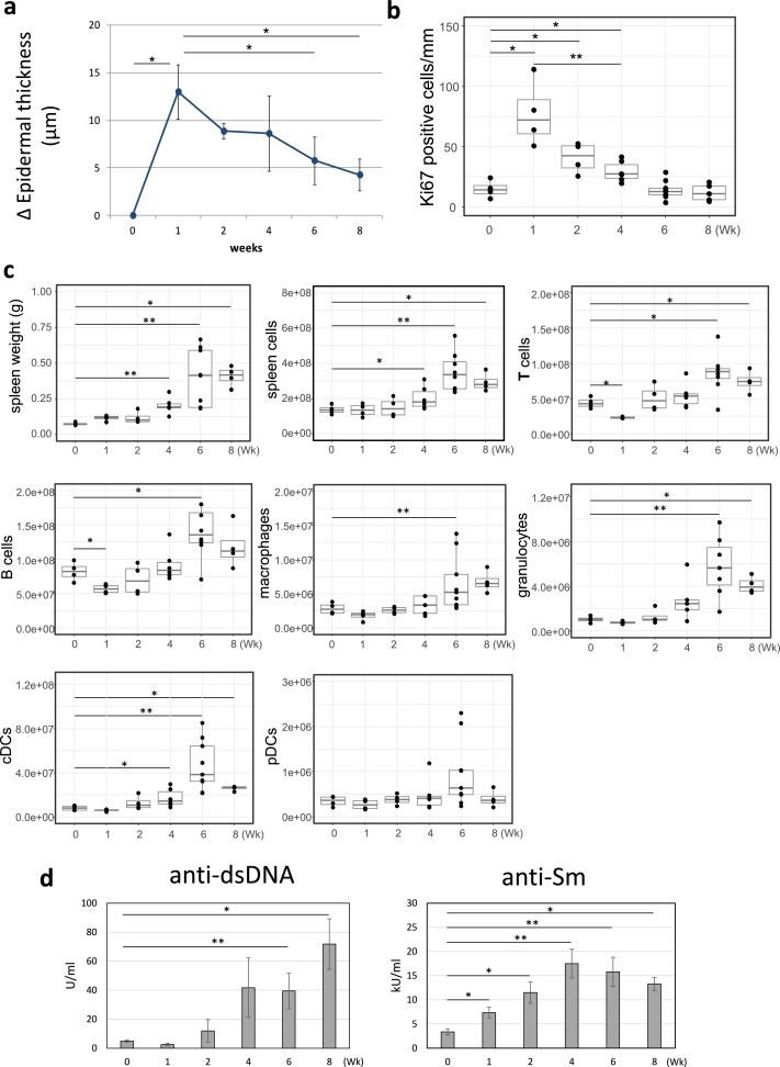 Distinct kinetics of two pathologies induced in mice by
