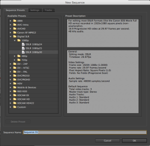 Premiere Pro Sequence Settings