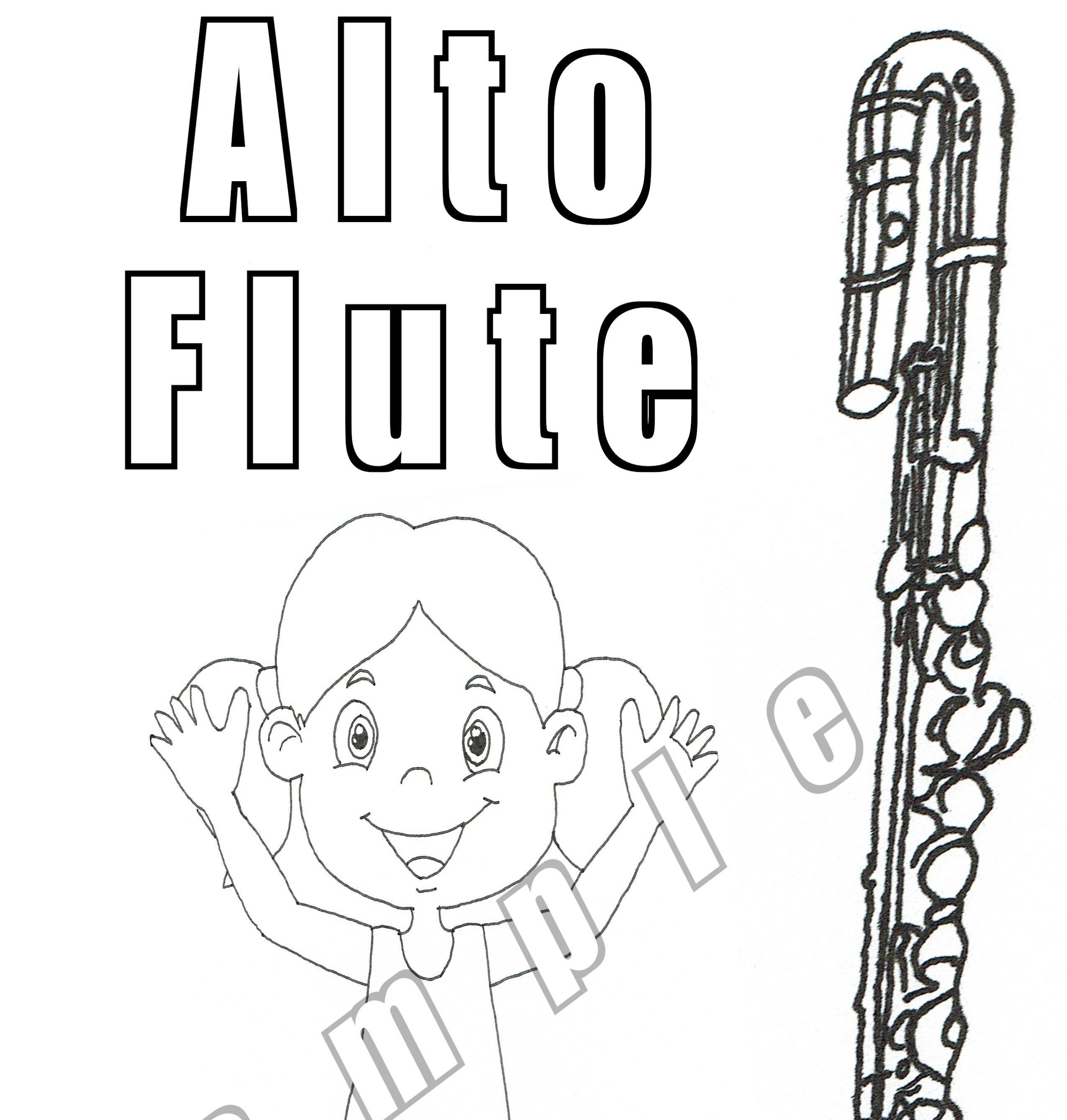 20 Flute Coloring Pages (Digital Download)