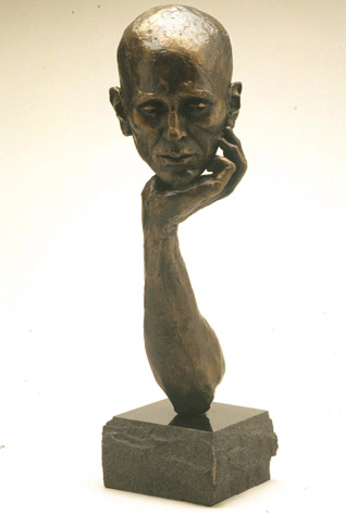 """Contemplation"" by Jean Proulx Dibner. Bronze and Stone."