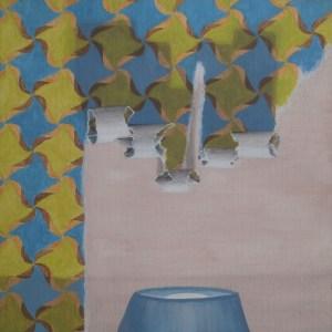 Tableau En jouant avec le papier peint au-dessus du lit