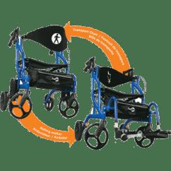 Walker Transport Chair In One Hugo Navigator Inexpensive Ergonomic Side Folding Rolling 1 Unit Blue Image Of Product