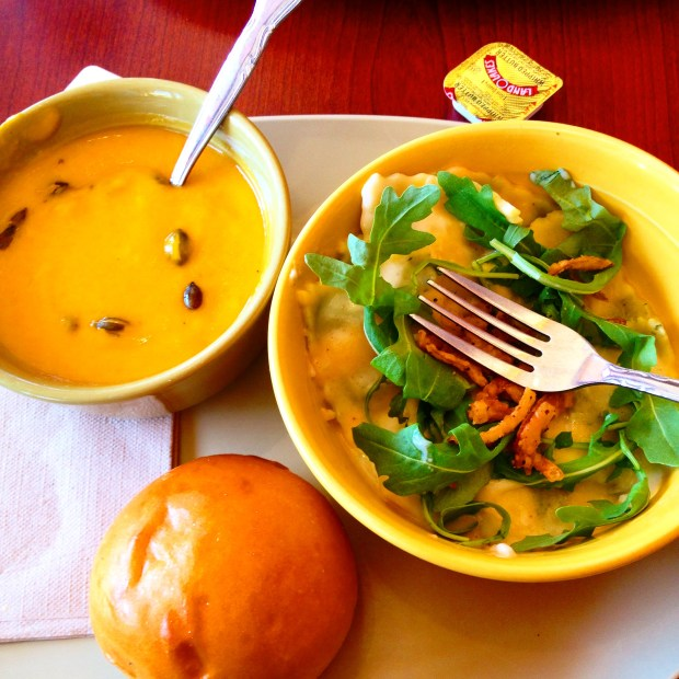 butternut soup and ravioli