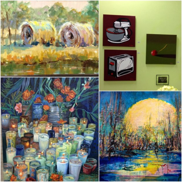 """River Valley Haystacks"" Bob Snider; 3 works by Harold Krause; ""Portal (3 of 3)"" William M. McClanahan; ""Swamp Moon"" Linda Flake"