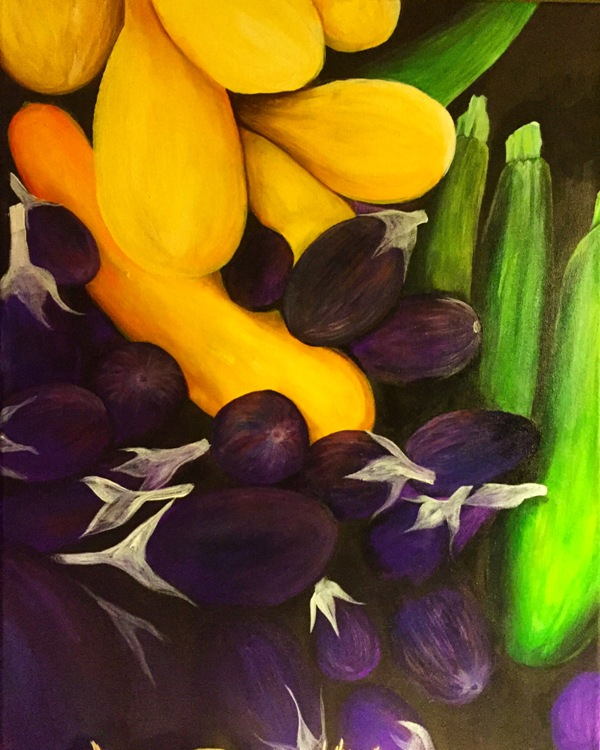 Eggplants and Squashes by artist Jeanetta Darley