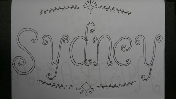 Getekende handlettering op wit papier met de tekst Sydney