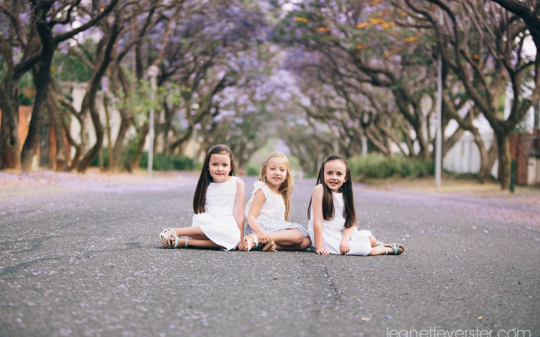 Friends and cousins and a street with jacarandas