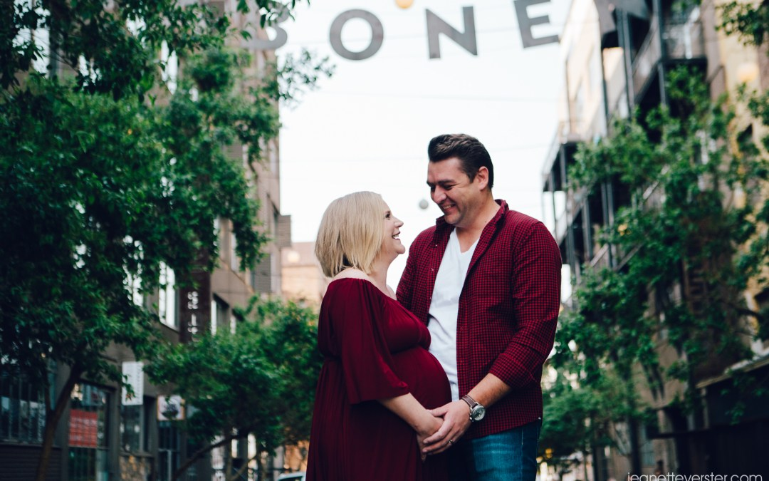 Estiaan and Asher's maternity shoot in the CBD