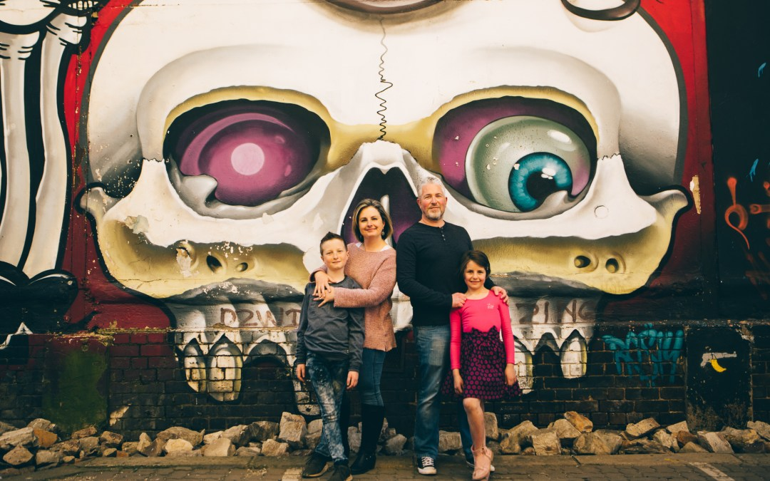The H family photo session with Newtown graffiti