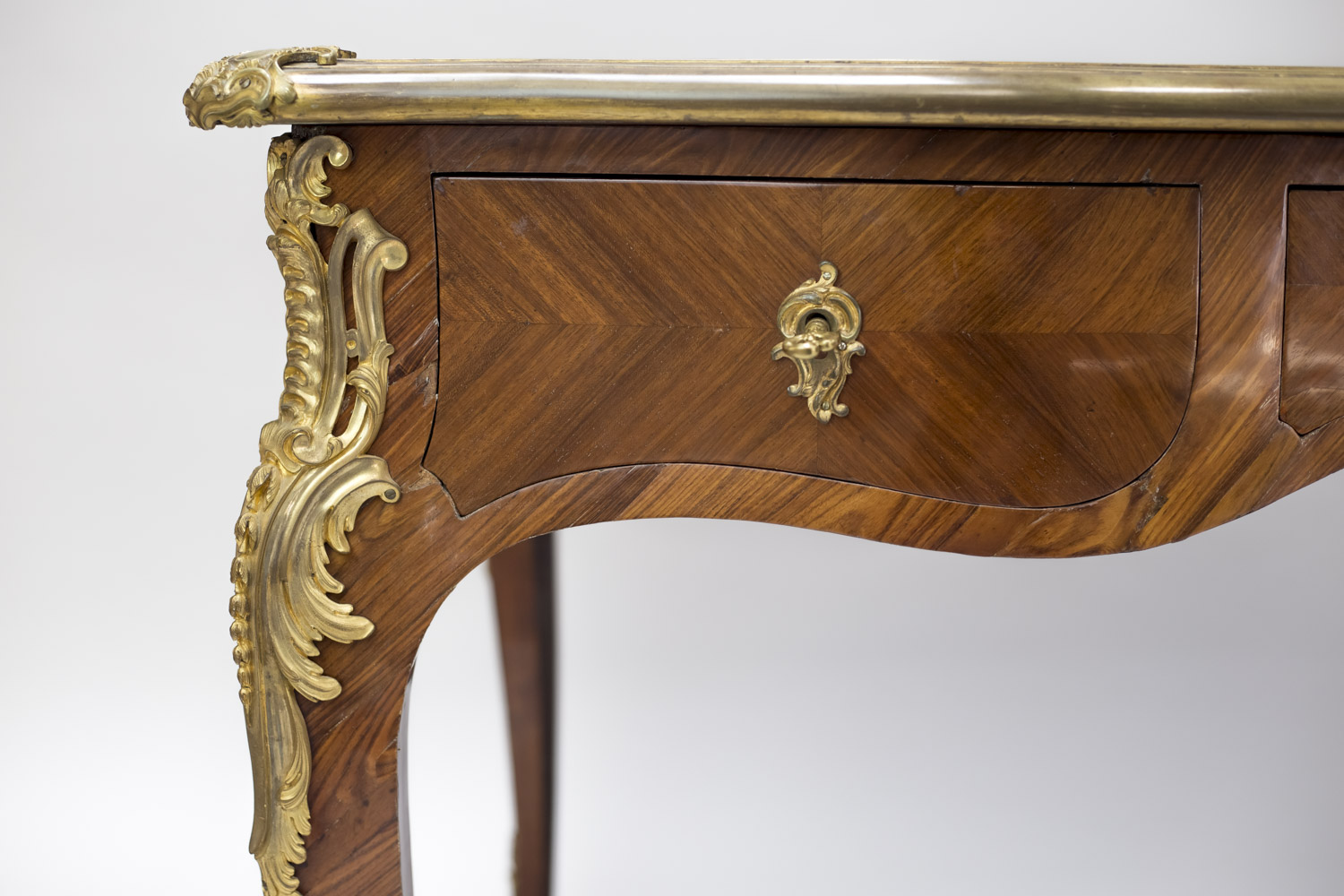 large louis xv style flat desk tulipwood marquetry late 19th century