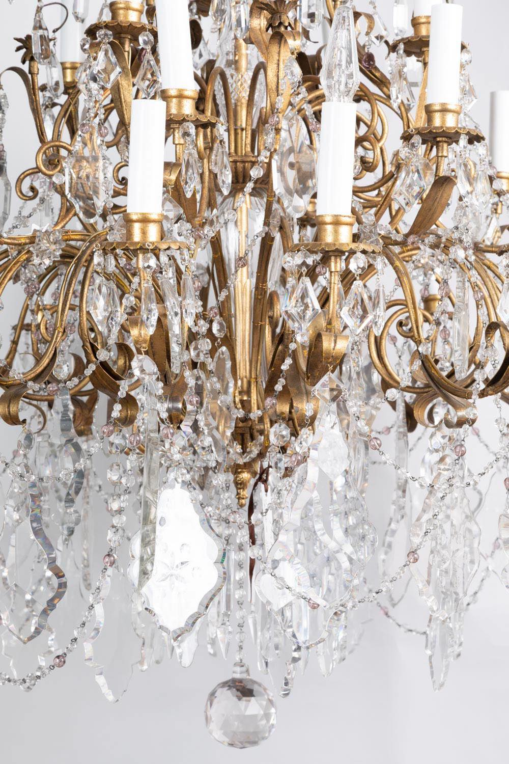 pair of louis xv style chandeliers in gilt brass and crystal tassels circa 1950