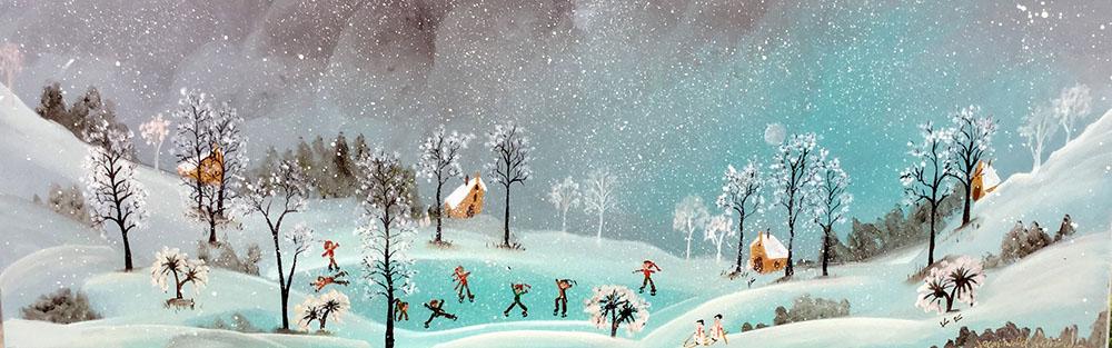 Tableau scène de neige et patineurs sur lac