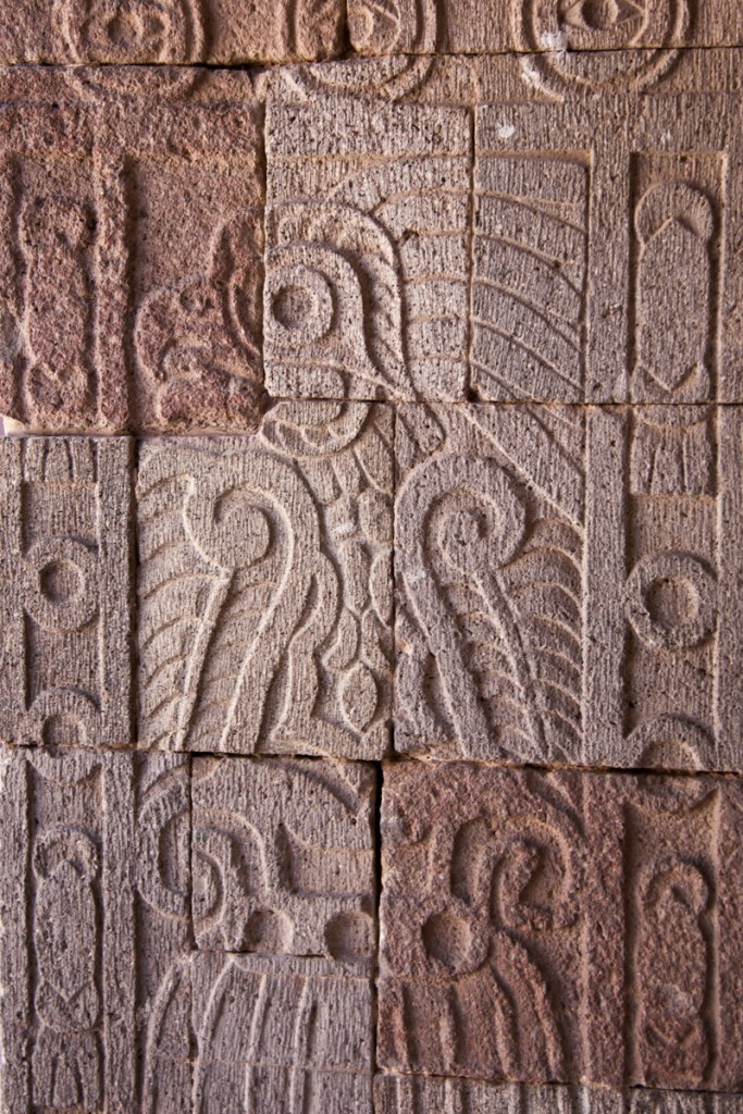 The pillars in this palace are carved with images of Quetzalpapalotl, a mythical combination of a bird and a butterfly.