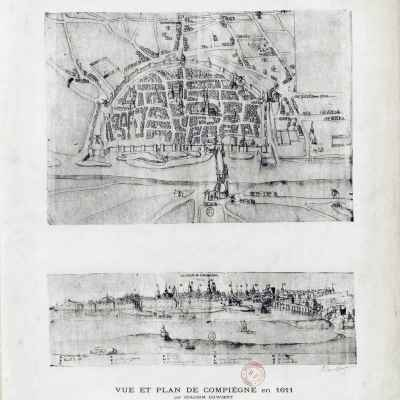 Map of Compiègne in 1611 by Joachim Duwiert