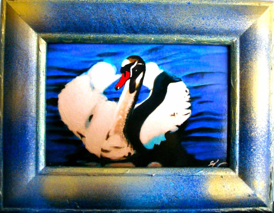 cygne oiseaux animaux mer plein jour reflet rose cadre bleu et dore cadre ancien restaure peinture 3 d formats 9x13 cm petits prix