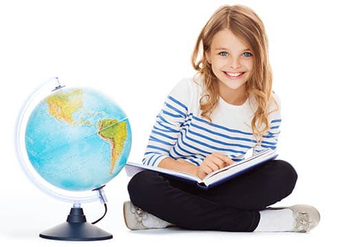 girl with globe and book