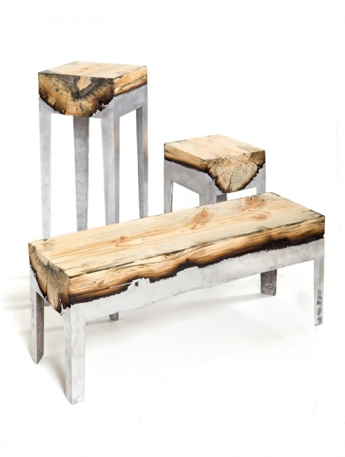 Modern Cabin Decor Living Room Aluminum Furniture Bench Furnishings Rustic Contemporary Art Wooden