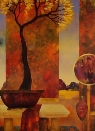 Intérieur à l'arbre d'or - huile 100x 73 cm