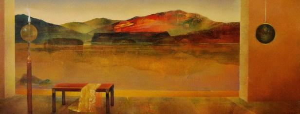 La montagne rouge (huile sur papier toilé marouflé sur bois 20 x 50,5 cm)