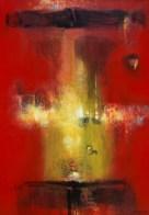 Petit temple rouge I (acrylique sur toile 55 x 38 cm)