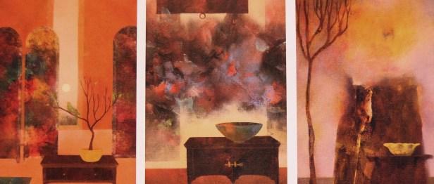 Trois petites scènes d'intérieur (huile sur papier marouflé sur bois)