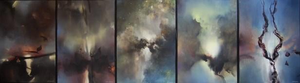 Suite pour un jour d'hiver (série de 5 tableaux, acrylique sur toile 65 x 200 cm)