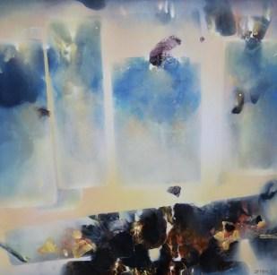 Flottants musicaux IV(acrylique sur toile 100x100 cm) 2018