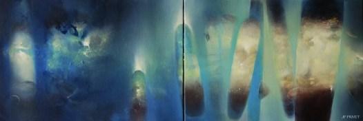 Précurseurs , diptyque (acrylique sur toile 38 x 110 cm) 2019