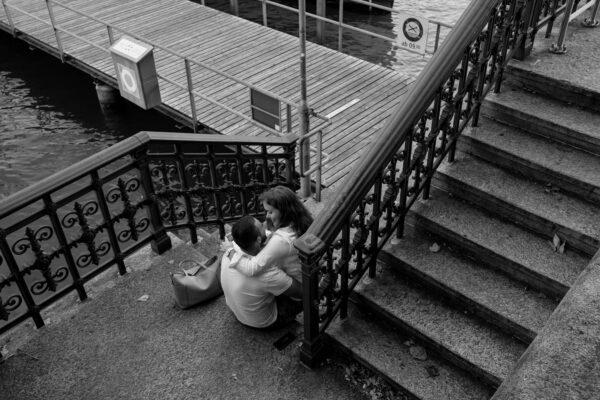 Driton and his Girldfriend enjoy a moment of love around Bürkliplatz in Zurich, Switzerland on August 26, 2020.