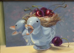 Blue duck with cherries, oil on panel, 5 x 7 inches