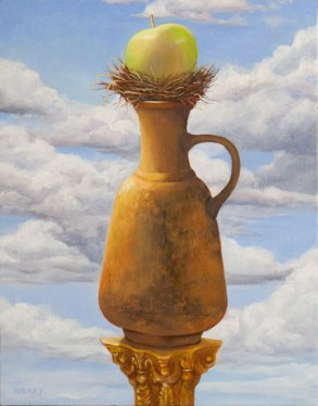 Grecian urn with green apple, oil on wood panel, 14x11 in. Available