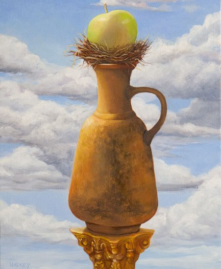 contemporary oil painting grecian urn bird nest green apple clouds