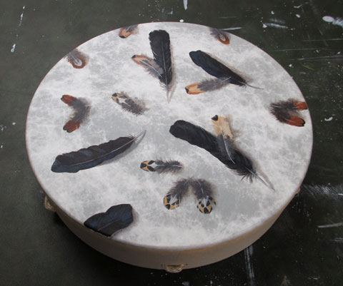 Feathers on Drum, 18 inches