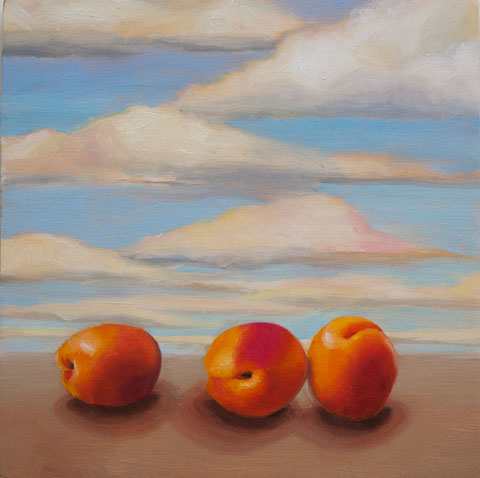 Three Apricots with Sky