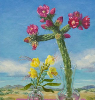 oil painting of Cholla cactus and Bird of paradise flowers