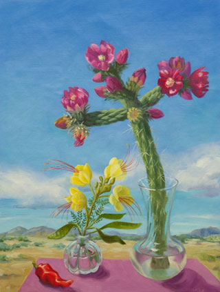 Centerpiece II: Cholla and Desert Bird of Paradise, oil on linen, 16x12 in, © Jean Reece Wilkey