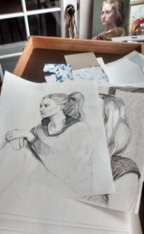 drawings in flat file drawer