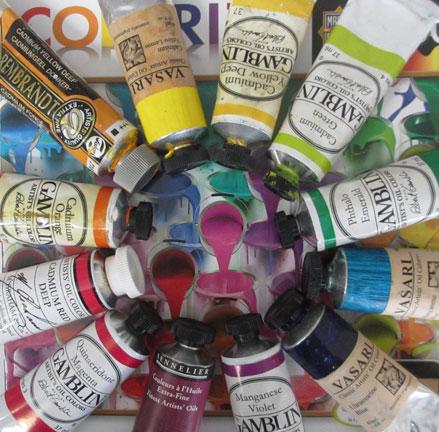 Paint tubes color wheel