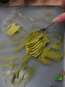 mixing green oil paint