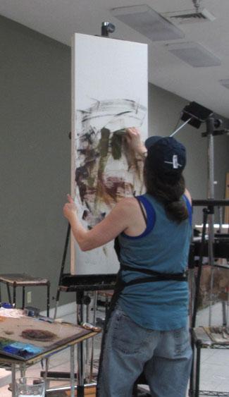 Rose Frantzen starting a painting