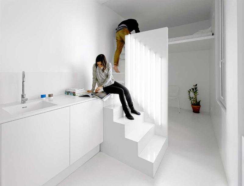 Micro Parisian Studio Apartment Uses Artificial Lighting to its Advantage