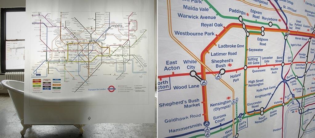 london underground map shower curtain