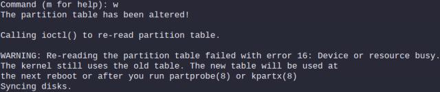 "fdisk ""w"" command error message"