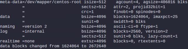 Output of: xfs_growfs /