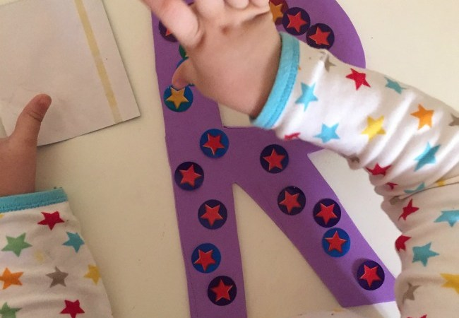 foam letters stars toddler activity