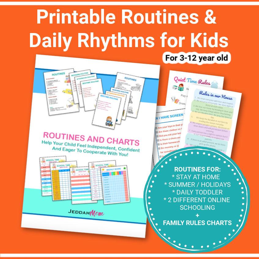 Printable Routines & Daily Rhythms for Kids   jeddahmom