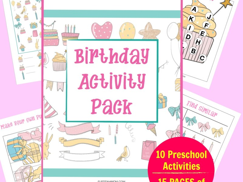 Birthday activity pack Preschool printables