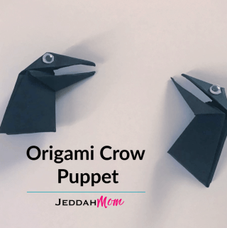 Origami Crow Puppet Kids Craft JeddahMom